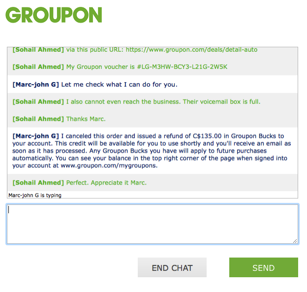 Groupon Live Chat